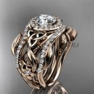 Celtic Two Band Engagement Ring for Women rose Gold Diamond Celtic Trinity Knot Bridal Set CT7300S