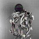 Tahitian Black Pearl Wedding Ring Sets white gold Flower ring ABP424S