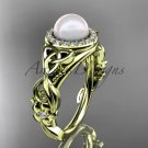 Pearl and Diamond Rings Celtic Trinity Knot Diamond 14kt yellow Gold Engagement Ring CTP7300