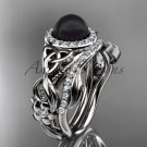 White Gold Black Pearl Rings Triquetra Celtic Diamond Halo Engagement Ring Set CTBP7300S