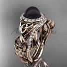 Rose Gold Black Pearl Rings Triquetra Celtic Diamond Halo Engagement Ring Set CTBP7300S