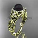 Black Pearl Unique Engagement Ring 14kt yellow Gold Diamond Wedding Ring ABP300
