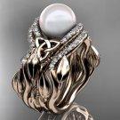 Leaf Diamond Pearl engagement ring set rose Gold Celtic Trinity Knot Wedding Set CTP7326S
