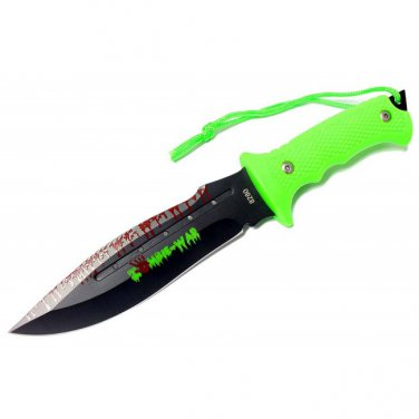 "9"" ZOMBIE-WAR STAINLESS STEEL HUNTING KNIFE WITH NEON GREEN HANDLE Sku : 8260"