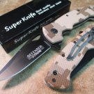 "7.5"" MINI FOLDING KNIFE BROWN HANDLE WITH CLIP Sku : 6456"