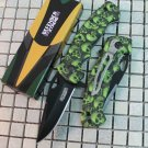 "7.5"" MINI FOLDING  KNIFE GREEN SKULL HANDLE DESIGN WITH CLIP Sku : 6458"
