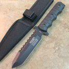 "9"" DEFENDER XTREME TACTICAL TEAM ALL BLACK SERRATED BLADE HUNTING KNIFE WITH SHEATH 7692"