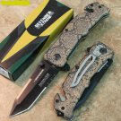 "8"" BROWN HANDLE TACTICAL TEAM KNIFE WITH BELT CLIP"