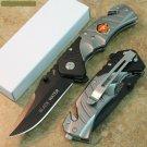 "8"" BLACK/SILVER KNIFE WITH BELT CUTTER AND BELT CLIP Sku : 7496"