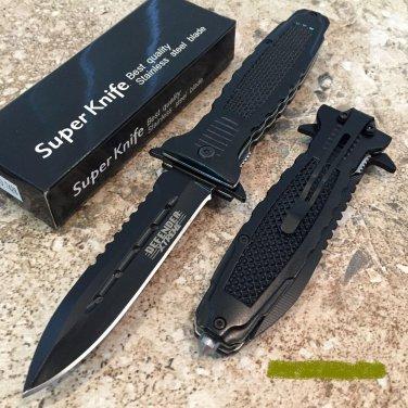 """8.5"""" DEFENDER XTREME BLACK FOLDING KNIFE FULL WITH BELT CLIP Sku : 7406"""