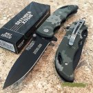 "7"" DEFENDER XTREME BLACK BLADE & MILITARY CAMO HANDLE DESIGN KNIFE WITH BELT CLIP Sku : 7673"