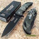 """7"""" DEFENDER XTREME BLACK BLADE & MILITARY CAMO HANDLE DESIGN KNIFE WITH BELT CLIP Sku : 7673"""