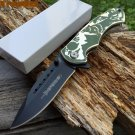 "8"" DEFENDER FOLDING KNIFE WITH BELT CLIP - GREEN WOLF Sku : 7968"