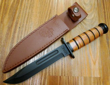 USMC Combat Knife � Stacked Leather Handle, Officially Licensed [17 UC3092]