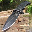 """8"""" Defender Xtreme  Knife Black Handle with Seat Belt Cutter    SKU:9288"""
