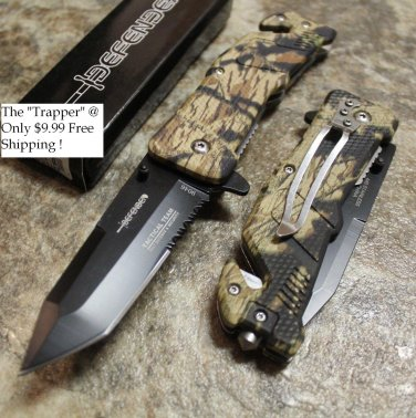 "8""  Camo Woodland Knife with Glass Breaker and Belt Cutter   SKU:9046"