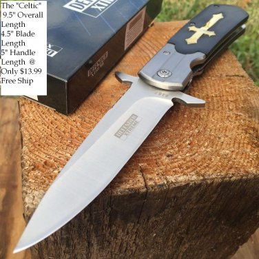"9.5"" Defender Xtreme  Folding Knife Black Cross Handle"