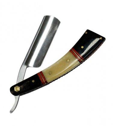 "9.5"" The Bone Edge Hand Made Black/White Razor Blade with Leather Sheath   SKU:9364"