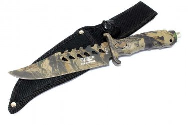 "More Views   10.5"" Fixed Blade Camouflage Hunting Knife Stainless Steel    SKU:7378"