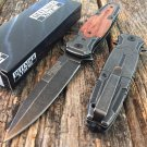 "8"" Defender Xtreme  Knife with Stone Washed Blade & Wood Handle SKU:9408"