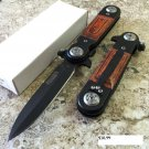 """8"""" Black And Wood Knife Metal Handle with Clip    SKU:6304"""