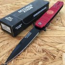 "7 3/8""  Red Folding Knife Heavy Duty Steel New w/ Fire Department Plate SKU:6046"