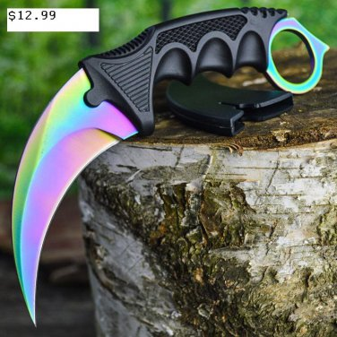 "7.5"" Hunt-Down Karambit Multi Color Blade Hunting Knife with Sheath and Clip SKU:9581"