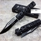"8.5"" DEFENDER BLACK TACTICAL DESIGN  KNIFE WITH BELT CLIP & GLASS BREAKER Sku : 7672"