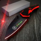 "8"" Red Z-Killer  Knife All Black with Belt Clip SKU:7356"