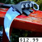 "7.5"" Black Karambit Hunting Knife with Sheath SKU:6752"