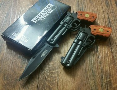 "8.5"" Defender Xtreme Black/Rosewood Spring  Gun Knife with Belt Clip SKU:9244"