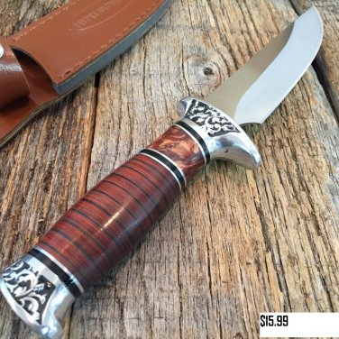 "10"" Hunt-Down Fixed Blade Knife with engraved Handle and Leather Sheath SKU:9114"