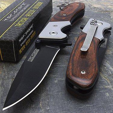 """7"""" TAC FORCE  WOOD FOLDING POCKET KNIFE Blade Tactical unlimited wares"""
