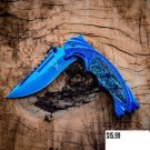 "TheBodeEdge 8.5""  Knife with Ridged Top Edge Blue Good Quality SKU:9641"