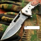 "8"" Buck Shot Tactical  Open FOLDING Pocket Knife Wood Classic"
