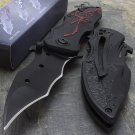 "7.75"" SPRING ASSISTED BATMAN DARK KNIGHT RED TACTICAL FOLDING KNIFE Open Pocket"