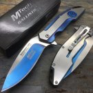 MTECH Blue Titanium Coated MIDNIGHT OPS Assisted Straight Folding Knife code-  Matt Eno Williams