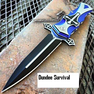 "9"" TAC-FORCE BLU CROSS Folding Blade STILETTO Code- Matt Eno Williams"
