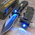 TAC-FORCE Black SHERIFF Open LED Tactical Rescue Pocket KnifeCode-Reco Peco