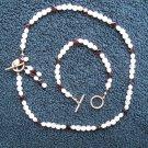 Faceted Garnet & Quartz necklace & bracelet with Silver clasps