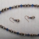Antique Blue & Clear Crystal & Copper beaded necklace with earring set