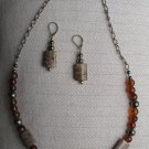 Ocean Jasper & Amber beaded necklace with matching earings
