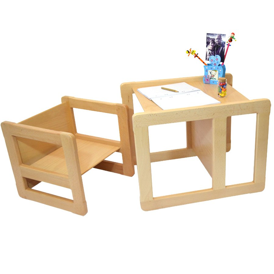 Children's Multifunctional Furniture Set of 1 Table and 1 Chair Solid Beech Wood Natural Varnish