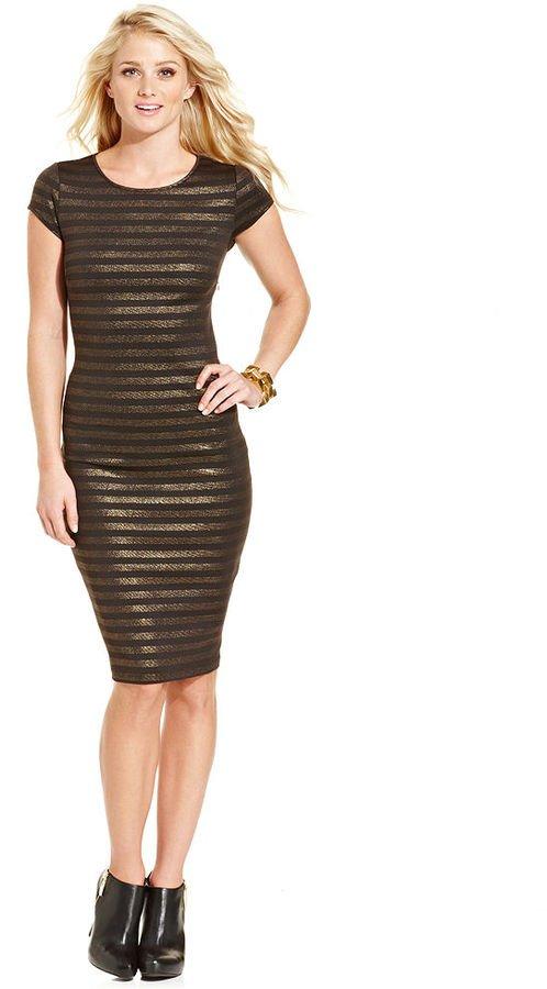 Marilyn Monroe Juniors Cap-Sleeve Metallic Striped Cutout Bodycon T-Shirt Dress Size Large (L)