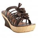 LEIFSDOTTIR Brown Espresso Leather Shoes Tassel Olli Wedges Size 39.5/US 9.5