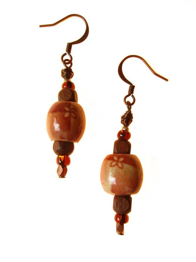 Wood Beaded Earring