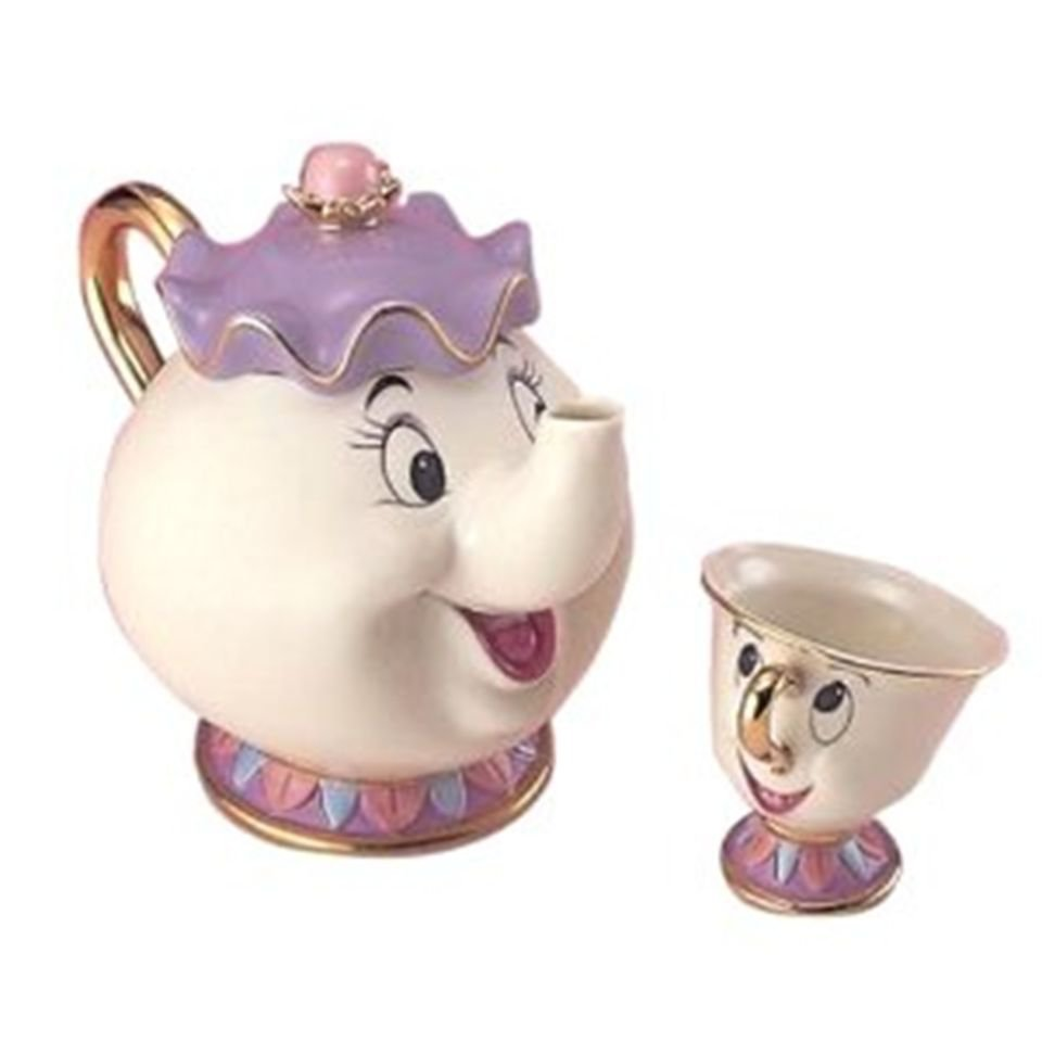 "Disney Beauty and the Beast ""Mrs. Potts and Chip Tea Set"" Cup & Pot NEW"