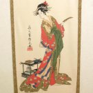 "NEW Japanese Noren Ukiyoe "" Strip of Paper and Woman"" Partition 85x 150cm NEW"
