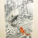 NEW Japanese Traditional Noren Ukiyoe Waterfall up of Carp Curtain 85x 150cm