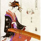 Japanese Noren Ukiyoe JAPANESE HARP Curtain Tapestry Partition 85 x 150cm BIG !